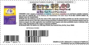 $5.00 Wellness Dry Dog Food Coupon 2012 April Sample