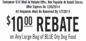 $10.00 Blue Dry Dog Food Redemption