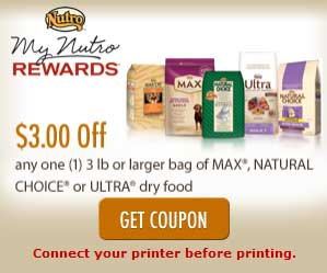 Print Nutro dog food coupons 2012