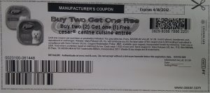 cesar buy 2 meals and get 1 free coupon 2012 April