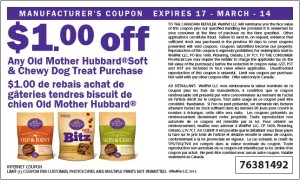 $1.00 Off Old Mother Hubbard Soft Chewy Dog Treat Canadian Coupons March 2014