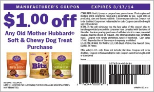 $1.00 Off Old Mother Hubbard Soft Chewy Dog Treat March 2014