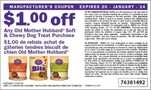 $1.00 off old mother hubbard soft chewy dog treat coupon Canadian January 2014