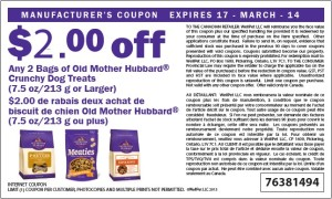 $2.00 Off Old Mother Hubbard Crunchy Treats Canadian Coupons March 2014