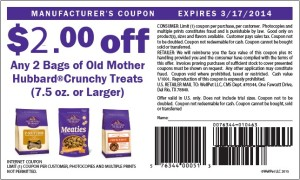 $2.00 Off Old Mother Hubbard Crunchy Treats March 2014
