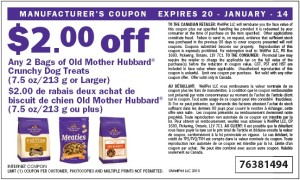 $2.00 off old mother hubbard crunchy dog treat coupon Canadian January 2014