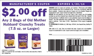 $2.00 off old mother hubbard crunchy dog treat coupon US January 2014