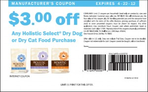 Holistic Select Coupons For Dry Dog Food 2012 April US Sample
