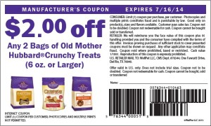 Old Mother Hubbard Crunchy Treats $2.00 Coupon July 2014