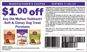 Old Mother Hubbard Soft Chewy $1.00 Dog Treat Coupon