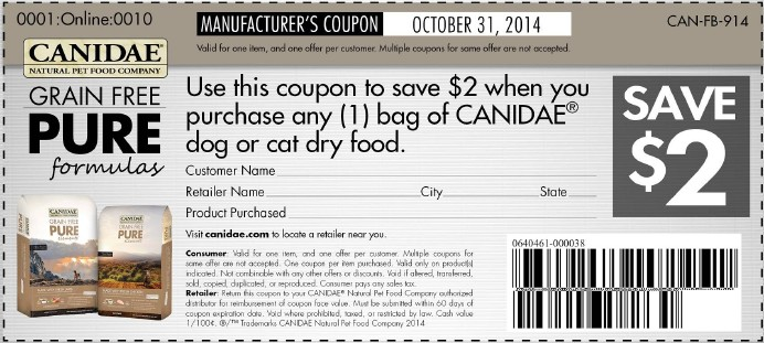 image relating to Canidae Coupons Printable identify Printable Canidae Doggy Foodstuff Discount coupons