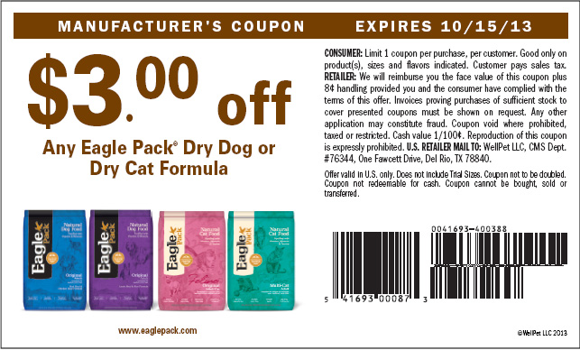 picture about Nutro Coupons Printable identify Printable Eagle Pack Pet Meals Coupon codes