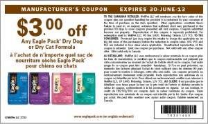 Printable Eagle Pack Dry Dog Food Coupons 2013 Canada