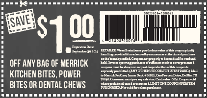 $1.00 Merrick Dog Treats Coupon