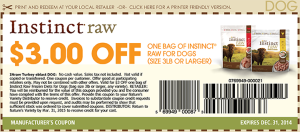 $3.00 Instinct raw dog food coupons December