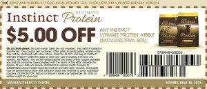 $5 Instinct Ultimate Protein Dog Food Coupons