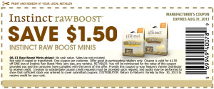Coupon for Instinct Raw Boost Minis Dog Raw Treats