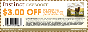 Instinct Raw Boost Dog Food Coupons February 2014