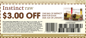 Instinct Raw Dog Food Coupons