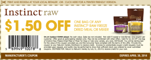 Instinct Raw Freeze Dried Meal Coupon
