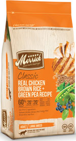 Merrick Real Chicken Brown Rice Green Pea dog food Recipe