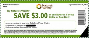 Printable Nature's Variety Dog Food Coupons
