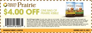 Printable Prairie Kibble Coupons $4.00 2013 June & July