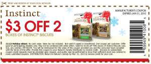 Instinct Grain Free Limited Ingredient Dog Biscuit Treats Coupons