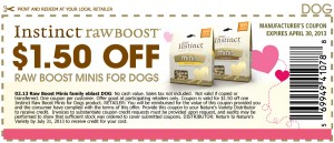 $1.50 Off Coupons for Instinct rawBoost Minis for dogs