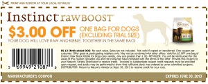instinct rawboost kibble and raw dog food coupons 2013 June