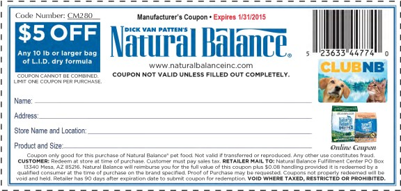 Natural Balance Dog Food Coupons >> Printable Natural Balance Dog Food Coupons