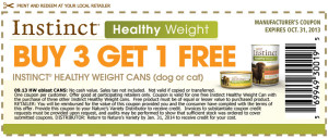 Instinct Healthy Weight Canned Cat Coupons