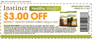 Instinct Healthy Weight kibble Cat Food Coupon