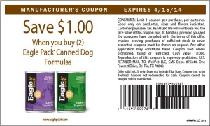 US Eagle Pack Canned Dog Food Coupons April 15 2014