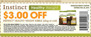 Instinct Healthy Weight Kibble Coupon 2014