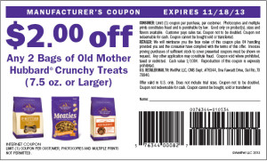 Old Mother Hubbard Crunchy Dog Treats Coupons