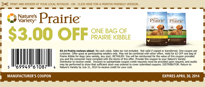 image about Taste of the Wild Coupons Printable named Printable Prairie Puppy Meals Coupon codes