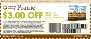 3.00 Prairie Kibble Coupon