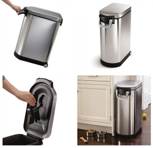 Fingerprint-proof-stainless-steel-dog-food-bin