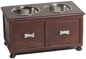 Attirant 12 Inch Waterproof Wooden Raised Dog Feeder With