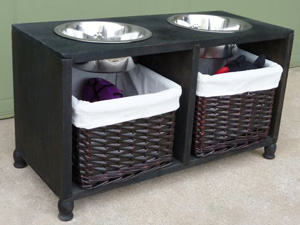 Cubby Wood Shelf Raised Dog Bowl Stand