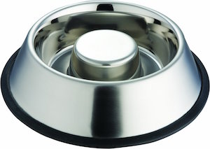 Stainless Steel Slow Feed Dog Bowl