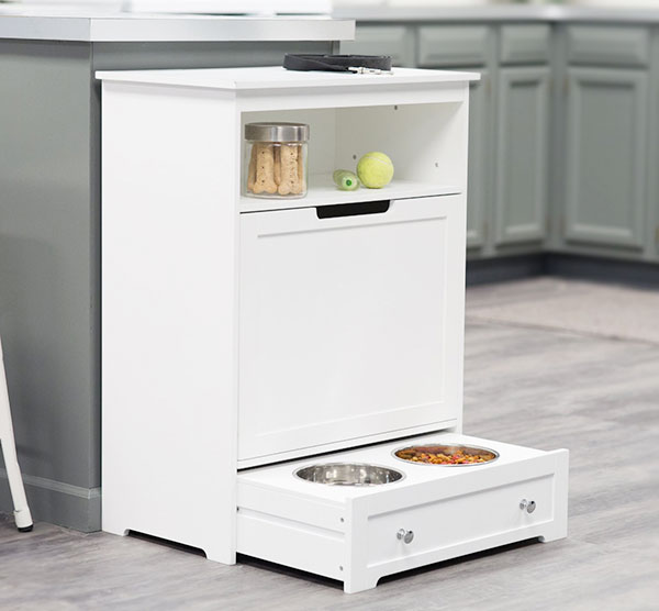 white-pet-feeder-station-with-food-storage-furniture